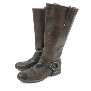 Women's Frye Melissa Pull On Harness Boots Dark Br